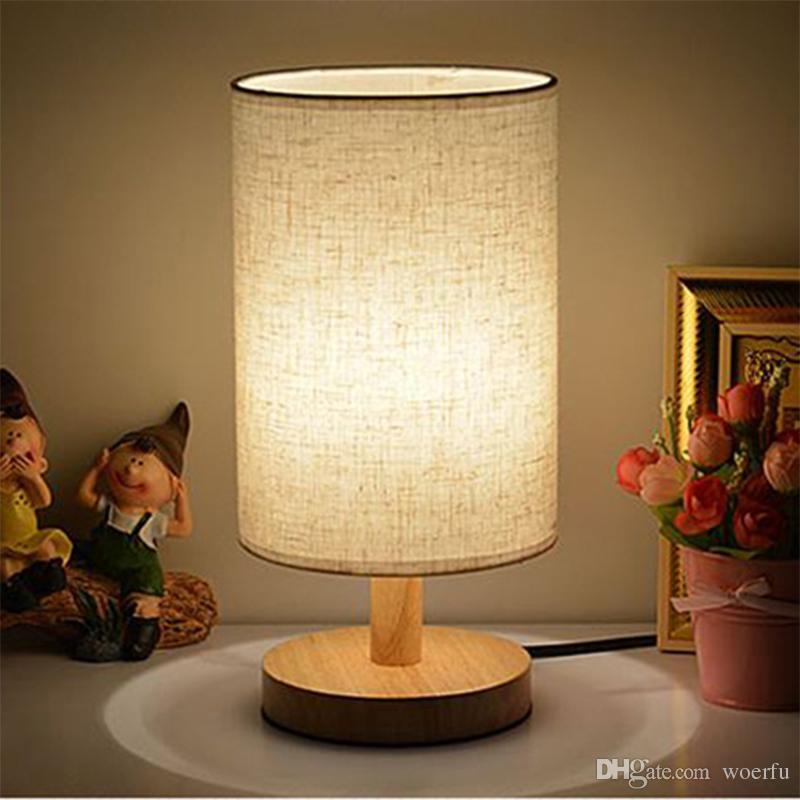 2018 modern wooden table lamp light for bedside bedroom ac 110v 220v desk lamp for living room for Wooden table lamps for living room
