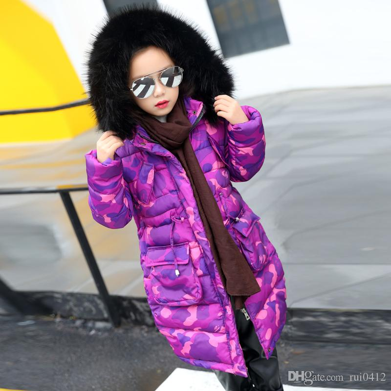 2017 New Winter Jackets Girls Warm Coat Kids Camouflage Fur Hooded ...