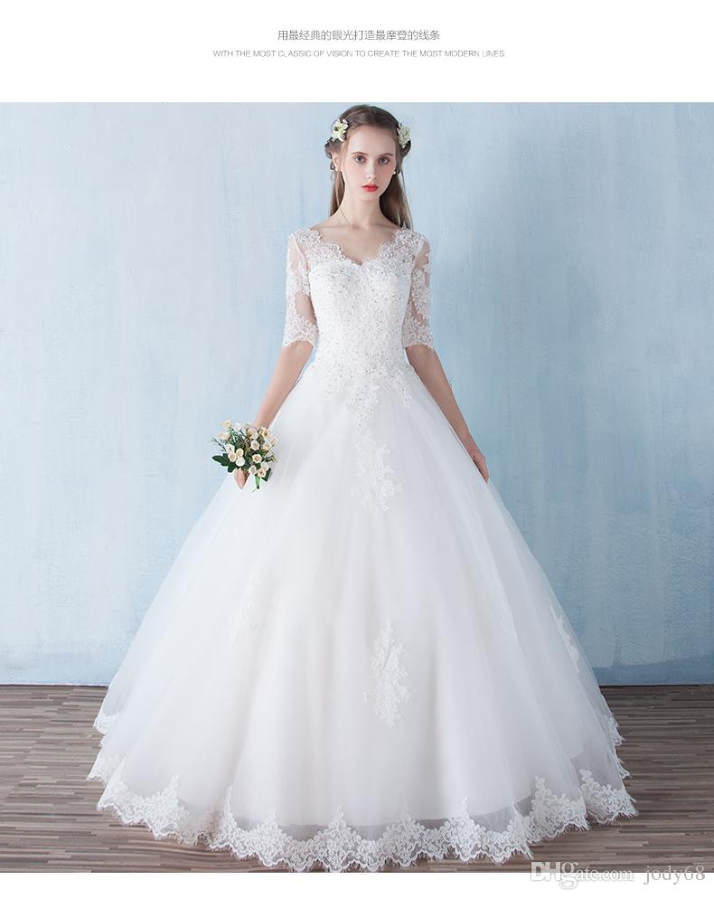 2017 High Quality New Pattern Wedding Dress Sweetheart Necklace With 3\/4 Sleeves Second Marriage