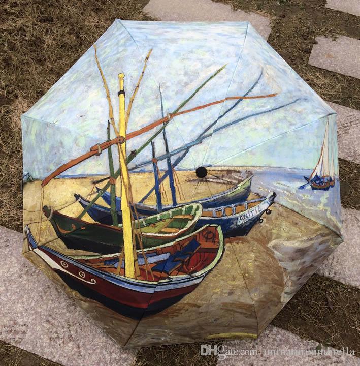 2017 vincent van gogh fishing boat sun rain umbrella 3 for Boat umbrellas fishing
