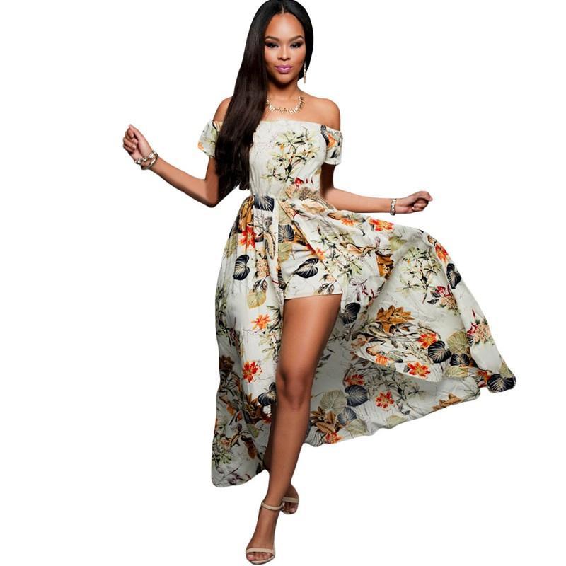 New Summer Women Off Shoulder Maxi Dress 2017 Beige Multi Color ...