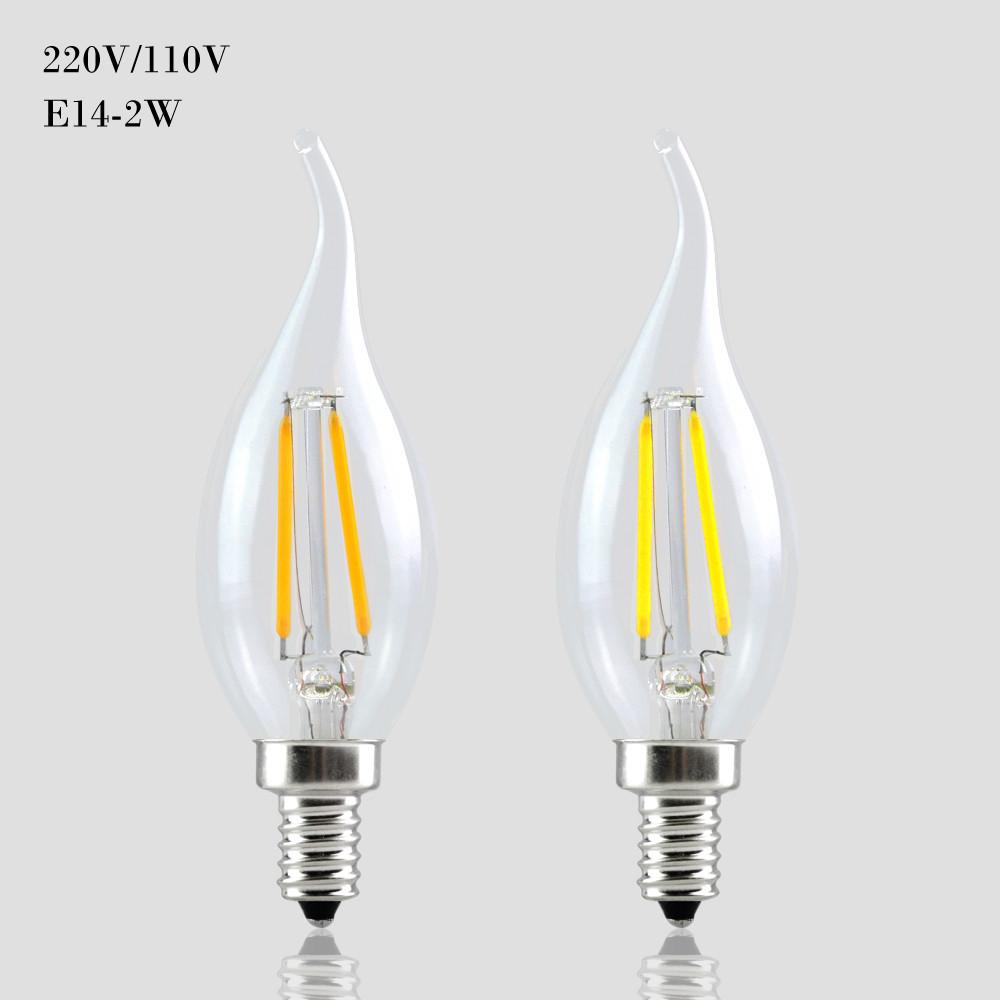 c35 tungsten filament candle light e14 led dimmable 110v 220v 2w 4w 6w lamp edison retro bulb. Black Bedroom Furniture Sets. Home Design Ideas