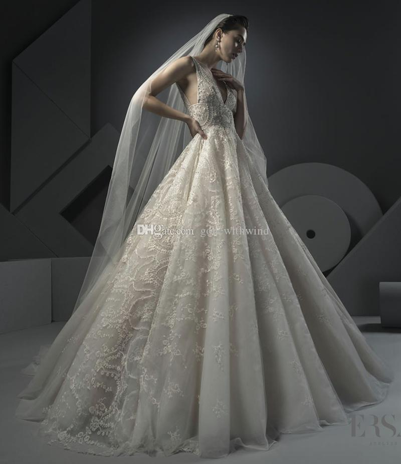 Discount Heavily Embroidery Beaded Lace Wedding Dresses