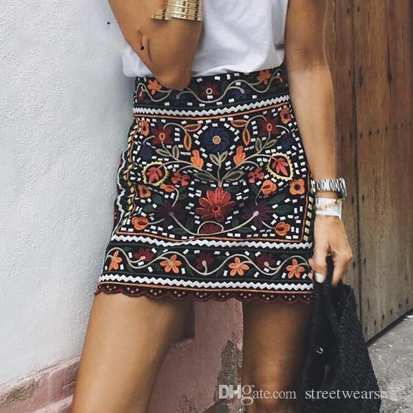 2017 Bohemian Embroidery Black Floral Short Skirt Ethnic Autumn ...