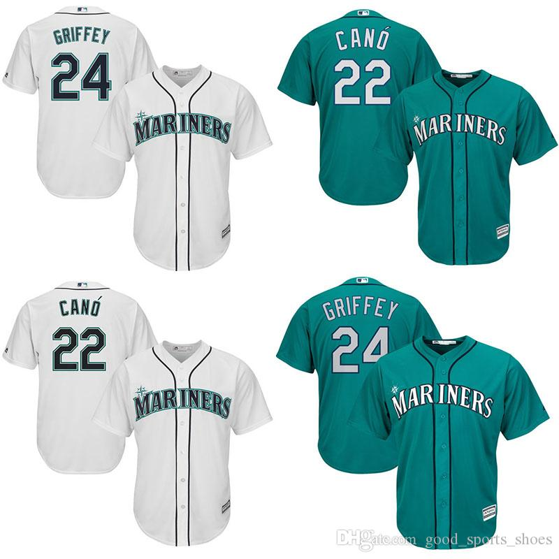 3e969a490a ... Authentic Jersey with Mens Baseball Seattle Mariners Jerseys 22  Robinson Cano 24 Ken Griffey Jr. Majestic White Home ...