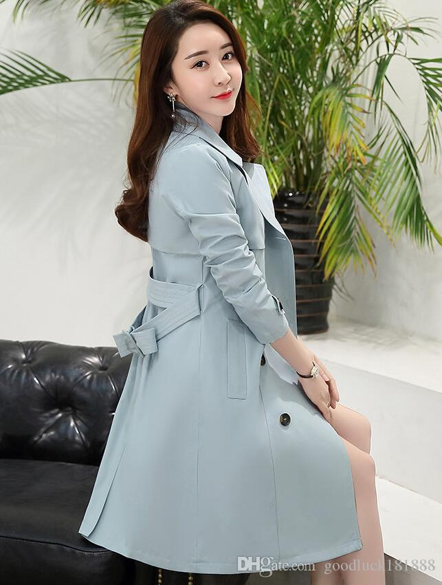Fashion Spring Autumn Women Long Sleeve Long Trench Coats Ladies ...