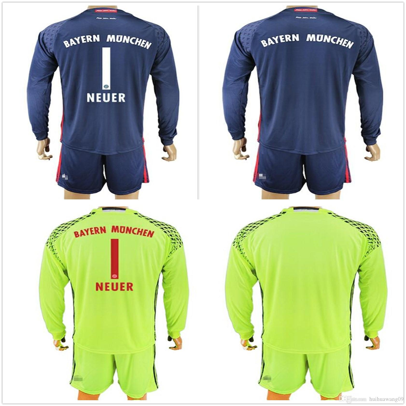2016 2017 adults long sleeve neuer goalkeeper jersey kit blue men soccer set 1 manuel neuer