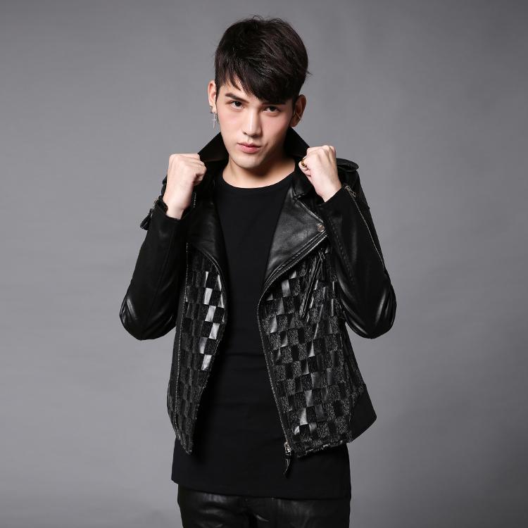 Pu Skin Male Black Short Korean Jacket Fashion Slim ...