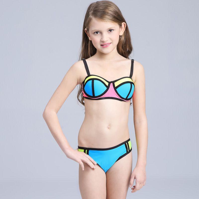 2018 Swimsuit Kid 2017 New Contrast Color Beachwear Bikini ...