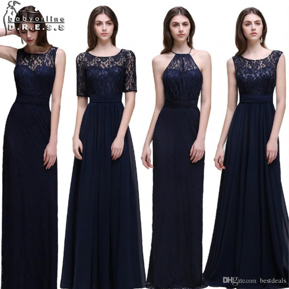 Real photo navy blue bridesmaid dresses long 2017 chiffon lace a real photo navy blue bridesmaid dresses long 2017 chiffon lace a line zipper up floor length online with 4588piece on bestdealss store dhgate ombrellifo Gallery