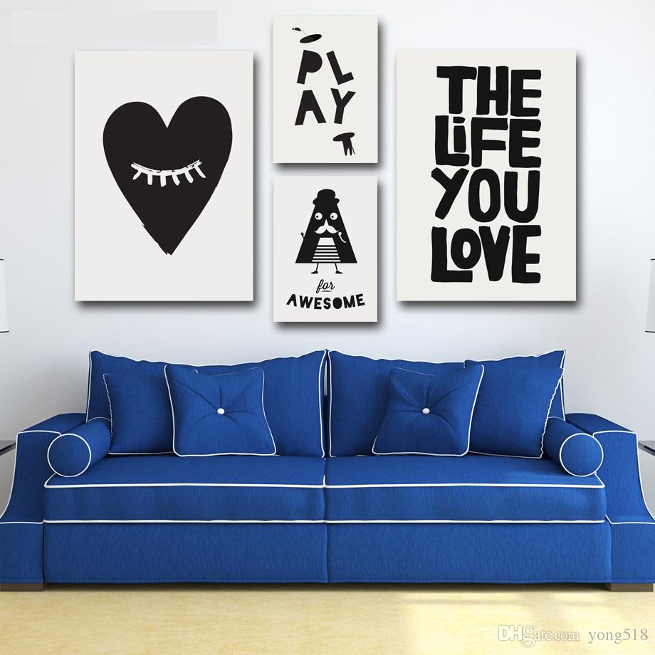 2017 canvas painting nordic minimalism letter wall for Living room 7 letters
