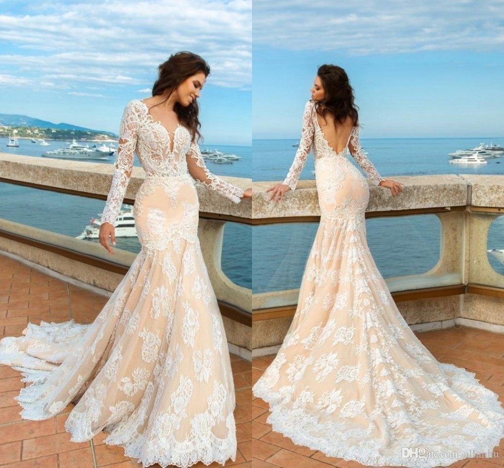 2017 Champagne Mermaid Lace Wedding Dresses Long Sleeves