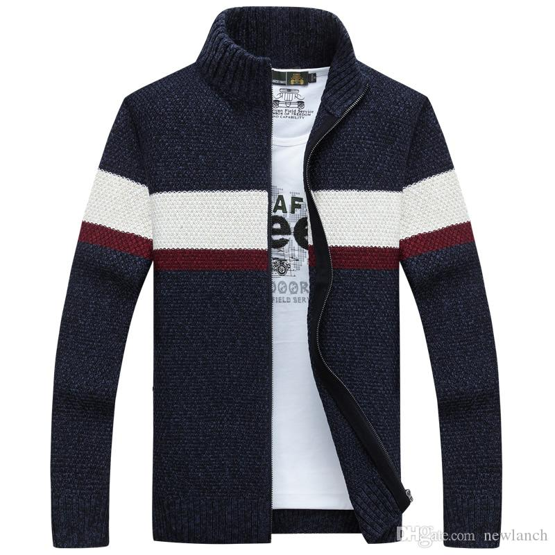Men Winter Cardigan Sweater Korean Luxury Male Turtleneck Jackets ...