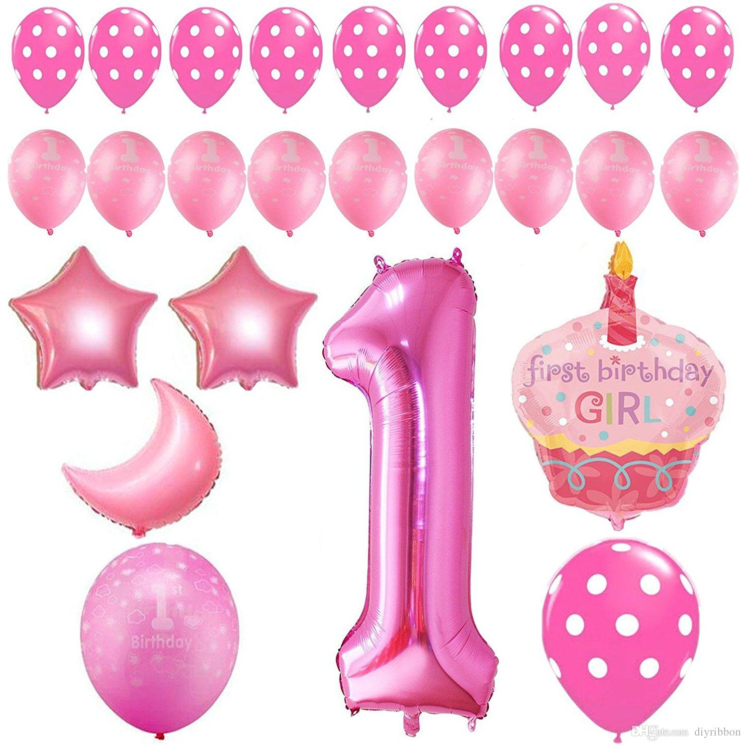 2018 first birthday decoration pink white gold balloons for 1st birthday girl decoration