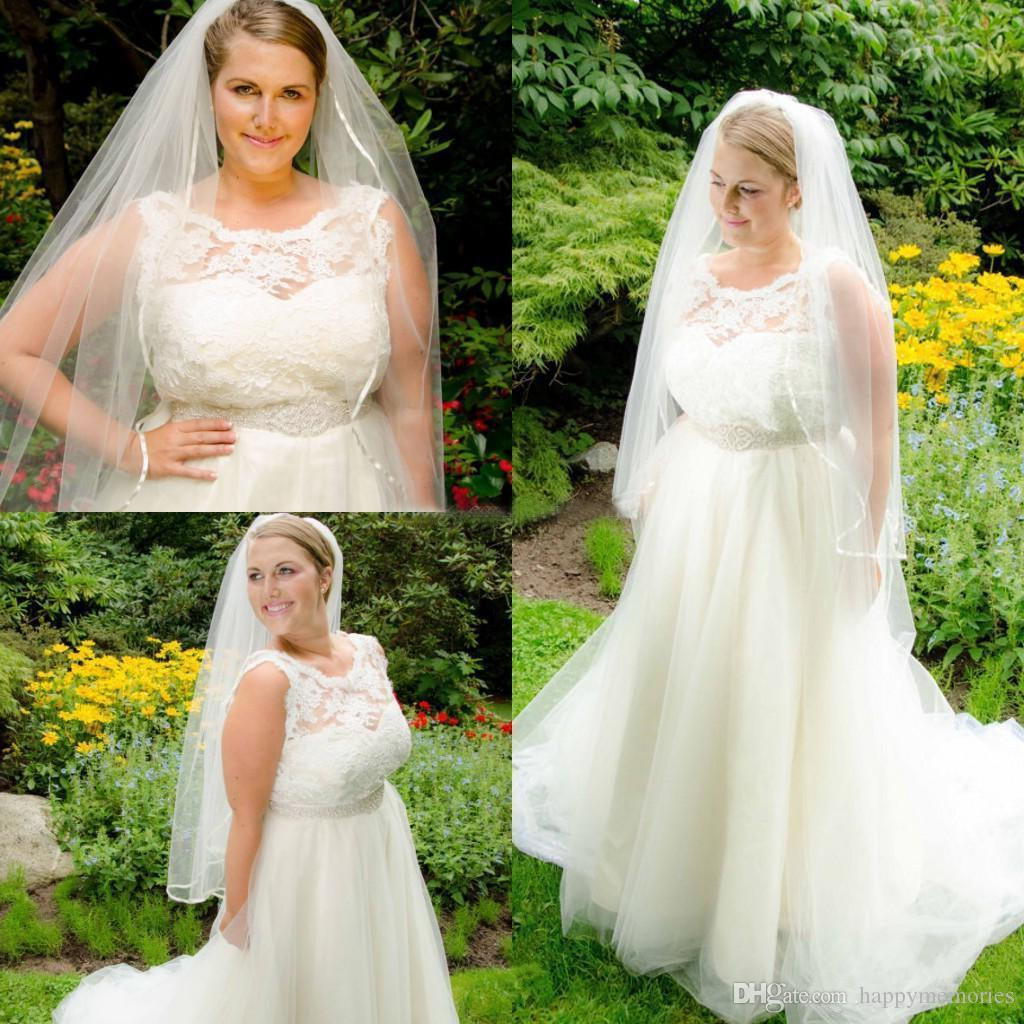 Discount 2017 new plus size lace and tulle a line wedding for Custom made wedding dresses nyc