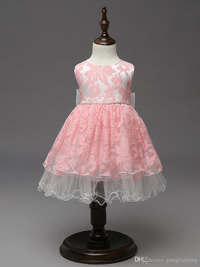 2017 High Quality Unique Baby Frock Design Pink Color Net