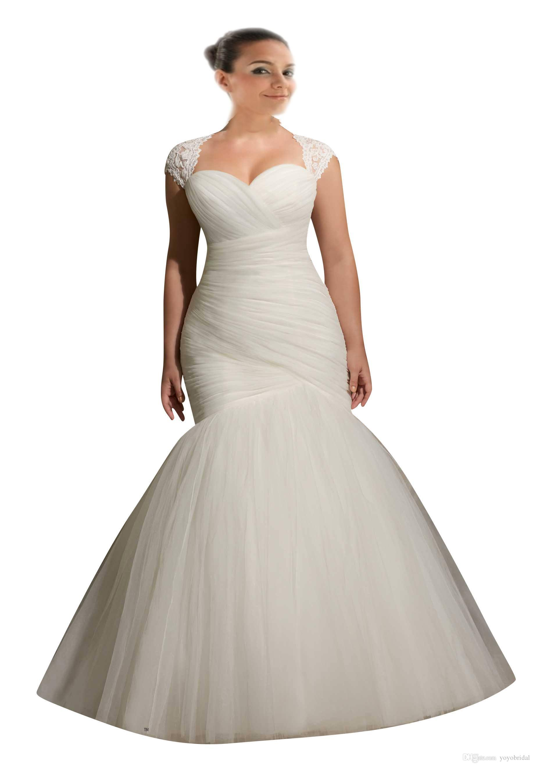 2017 Plus Size Mermaid Wedding Dress With Cap Short Sleeve