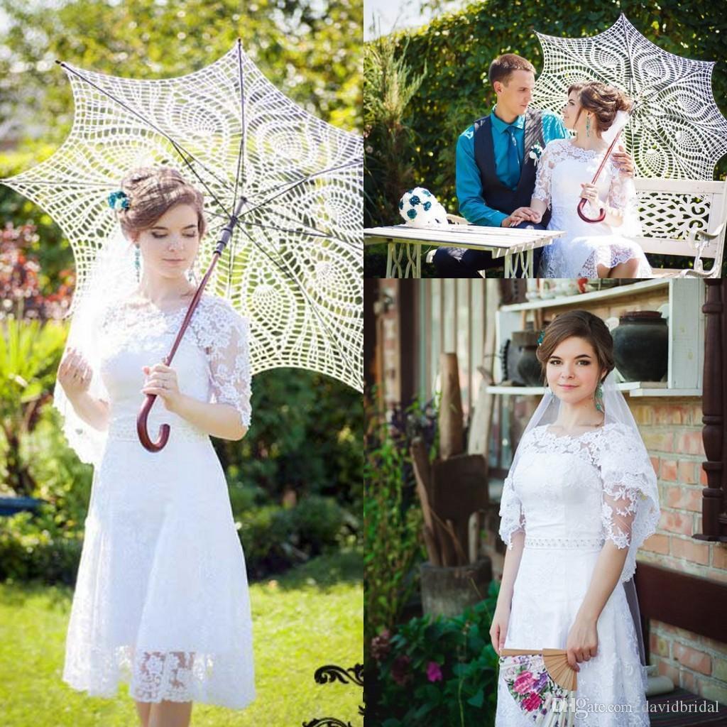 Modest Lace Short Beach Wedding Dresses Backless Knee