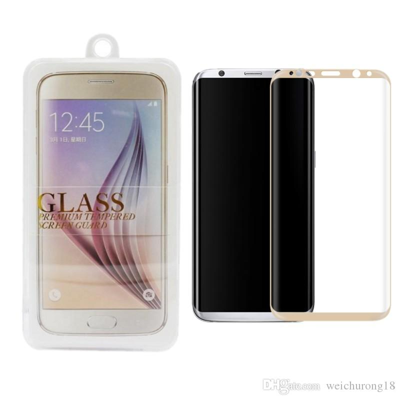 Pour S8 plus 3D Curved Tempered Glass S7 edge iPhone 7 Film de protection comple