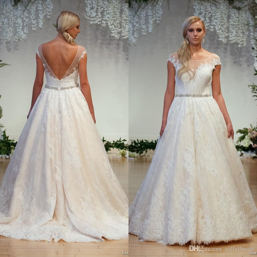 Modern Country Chic Wedding Dress : New style country wedding dresses sexy sheer lace applique jewel