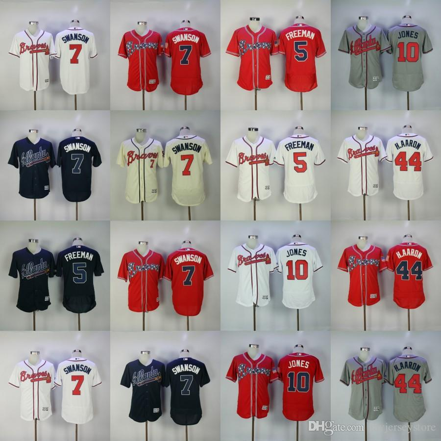 Dansby Swanson Jersey Freddie Freeman Chipper Jones Hank Aaron Baseball Atlanta