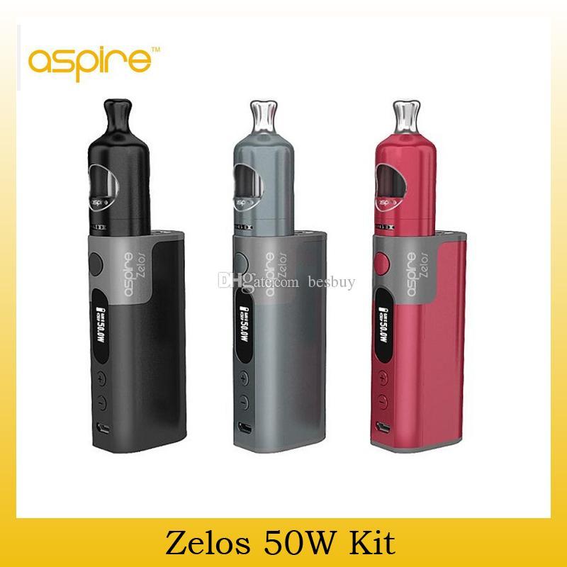 Original Aspire Zelos 50W Starter Kit With Nautilus 2 Tank 2ml Top Fill Atomizer Zelos 50W TC Box Mod 2500mah Battery Genuine 2210074