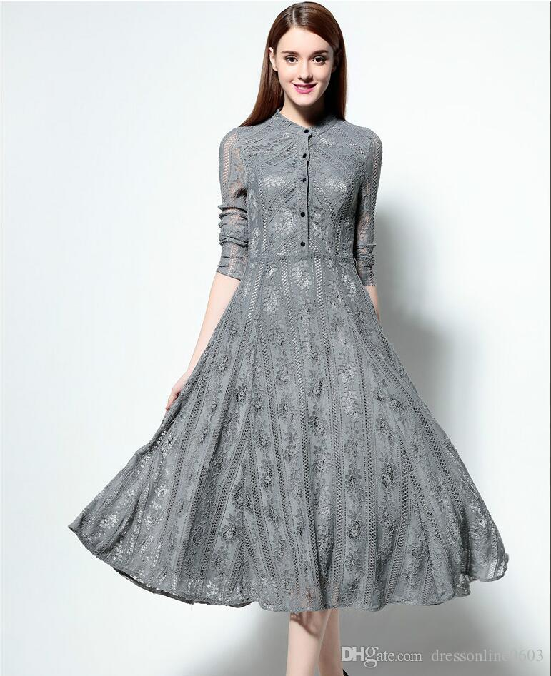 2017 Long Sleeves Lace Gray Dresses 2017 Spring Buttons Elegant ...
