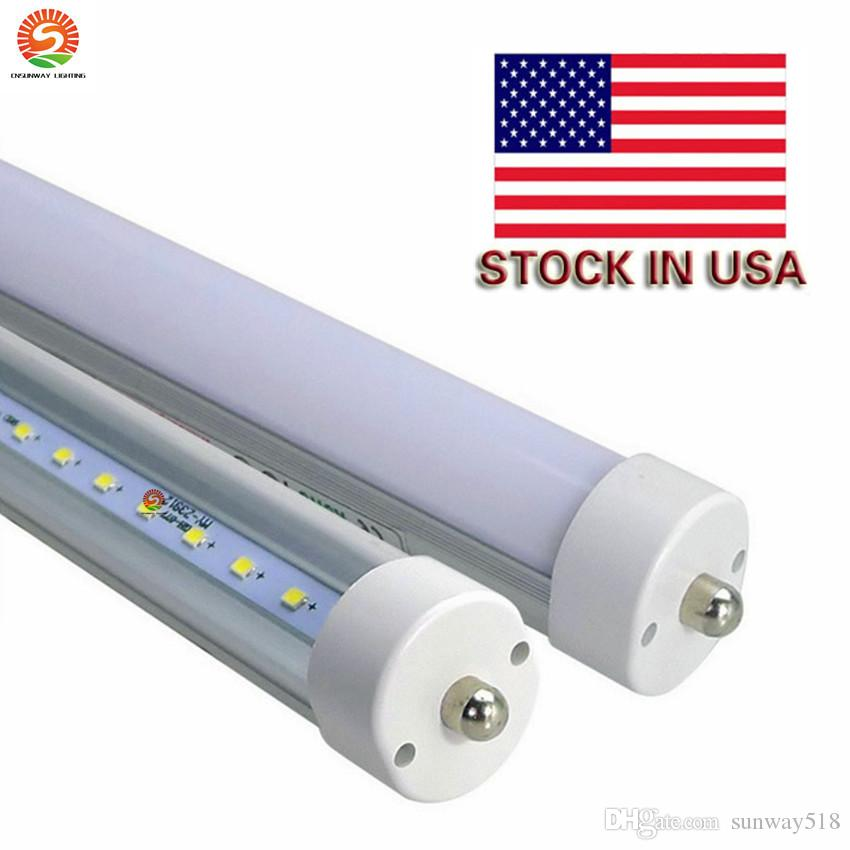 Stock In US + 8 feet led 8ft single pin t8 FA8 Single Pin LED Tube Lights 45W 4800Lm LED Fluorescent Tube Lamps 85-265V