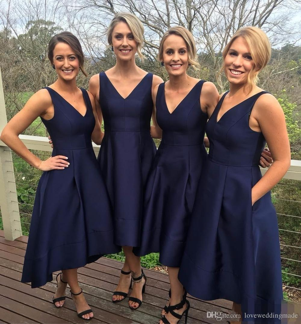 2017 short high low bridesmaid dresses with pockets navy blue v 2017 short high low bridesmaid dresses with pockets navy blue v neck sleeveless pleats maid of honor gowns bridesmaids gowns wedding guest dresses maid of ombrellifo Image collections