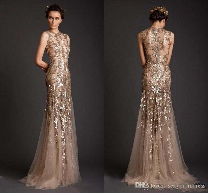 Krikor Jabotian Evening Dresses 2017 Gold Mermaid Shape
