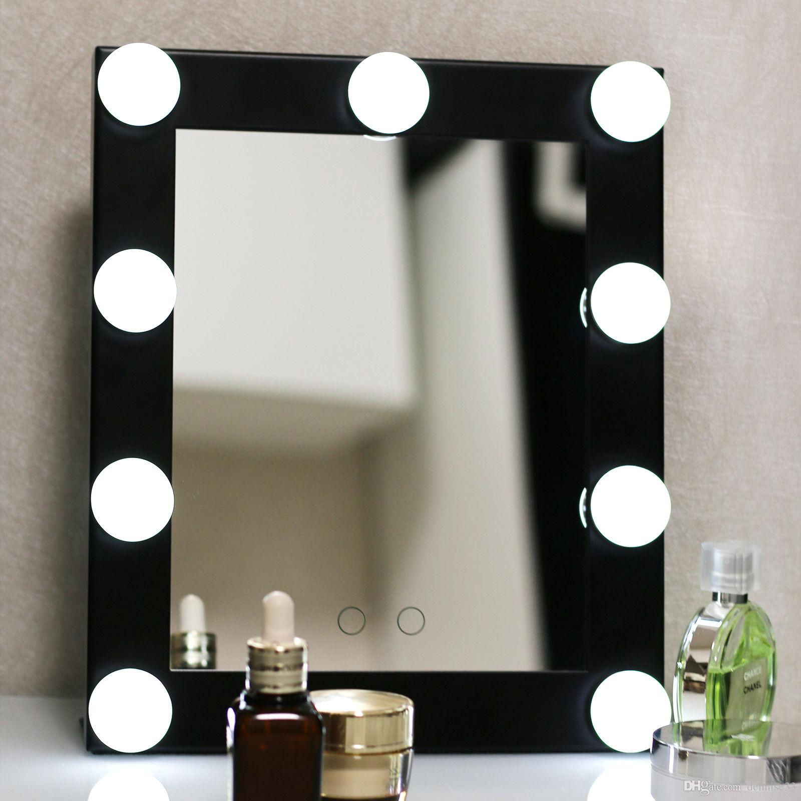 Hollywood lighted aluminum table desktop wall mounted for Beauty salon mirrors with lights