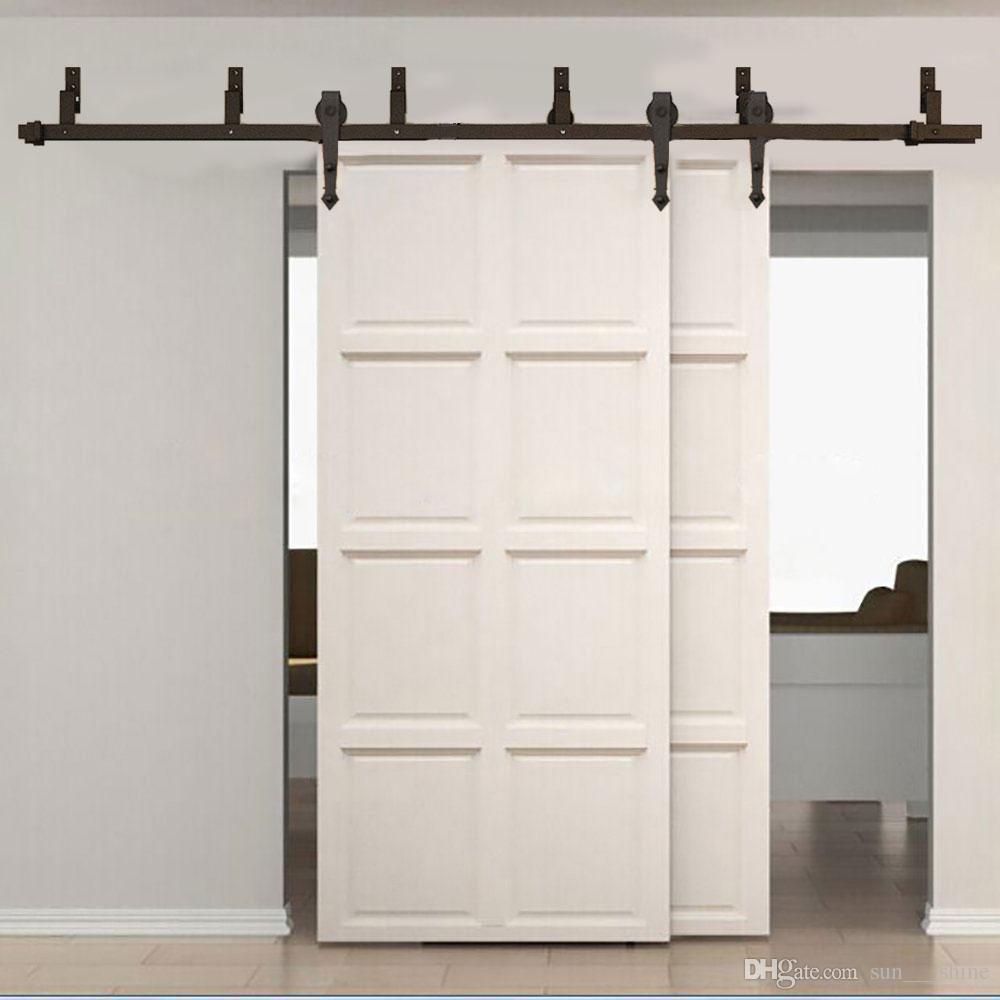... Exterior Door Hardware Rustic By 5 16ft Rustic Black Sliding Bypass Door  Hardware Set Classic Barn ...