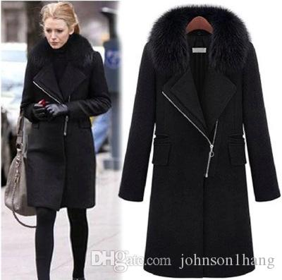 Fashion 6XL Women Winter Coats High Imitation Fox Fur Collar ...