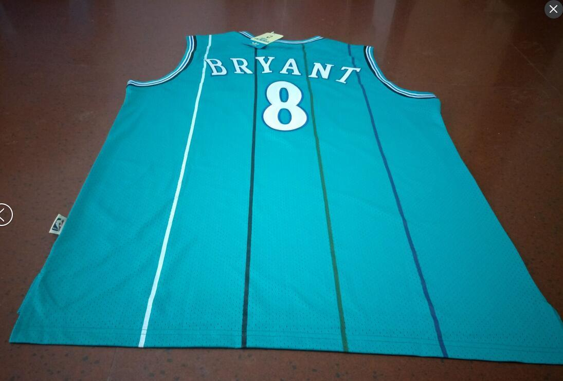 Hommes # 8 Kobe Bryant AUTHENTIQUE CHARLOTTE HORNETS Maillot de basket-ball Tail