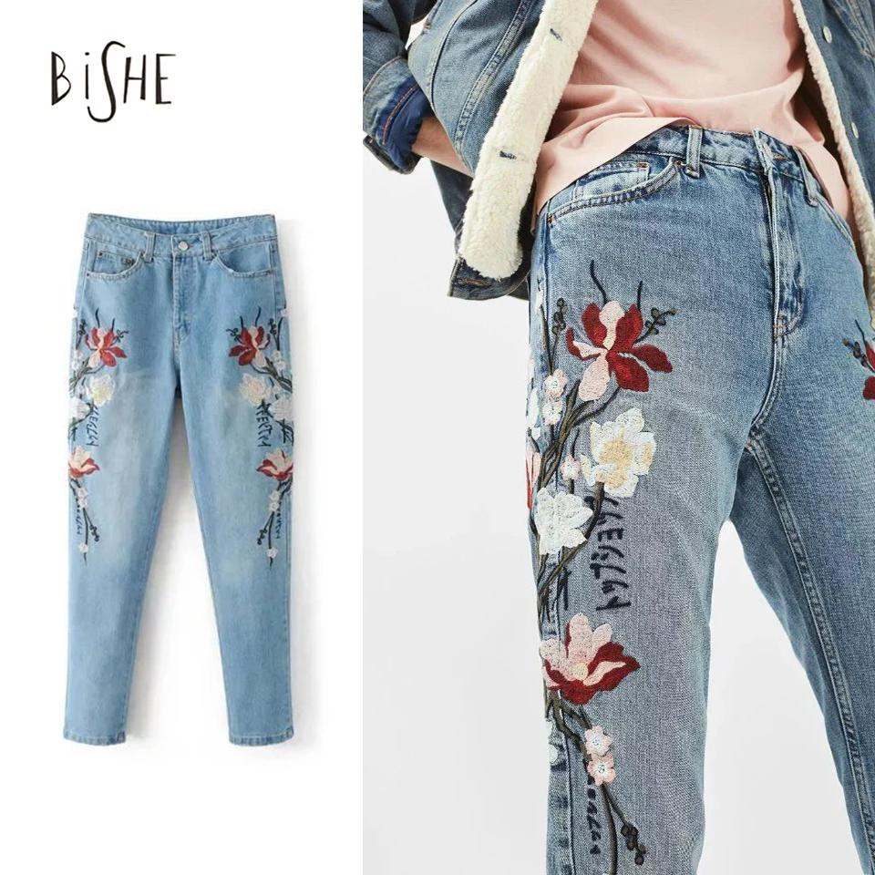 Wholesale mom flower embroidered jeans new