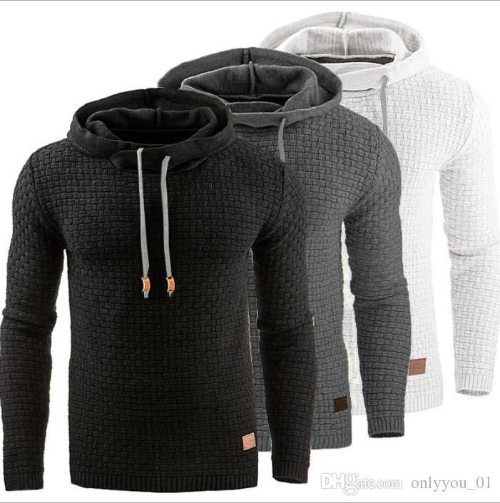 Men's Jacquard Winter Pullover Hoodie Warm Hooded Sweatshirt Long ...