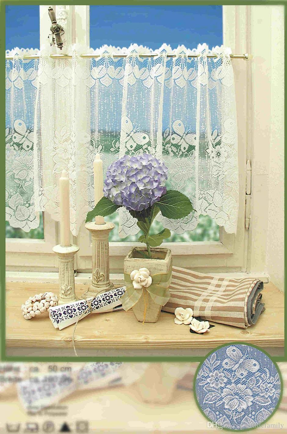 Polyester Jacquard Lace Cafe Curtain With 160x50cm Knitted Butterfly Lace Coffee  Curtains Lace Kitchen Curtains Valances Lace Cafe Curtains Butterfly ...