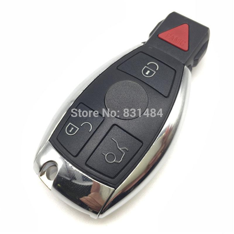 4 buttons remote smart car key case shell logo included for Mercedes benz key fob replacement cost