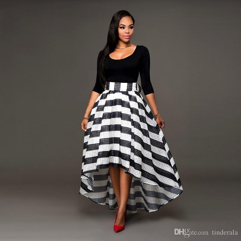 Long Black And White Striped Skirt Skirt Ify