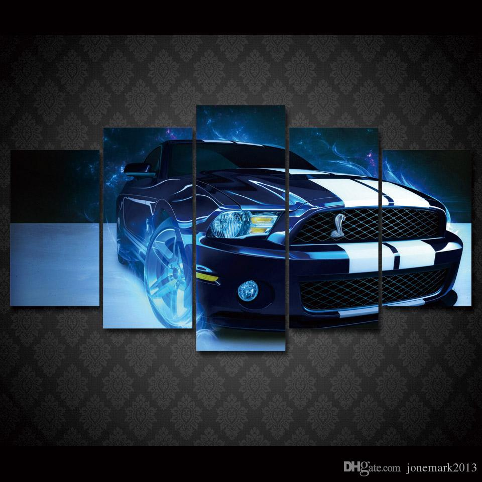 2017 framed hd printed shelby mustang car picture painting