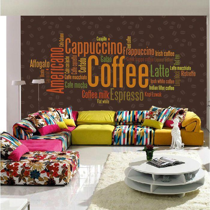 Wholesale 3d papel de parede english letter 3d photo mural for Mural coffee shop