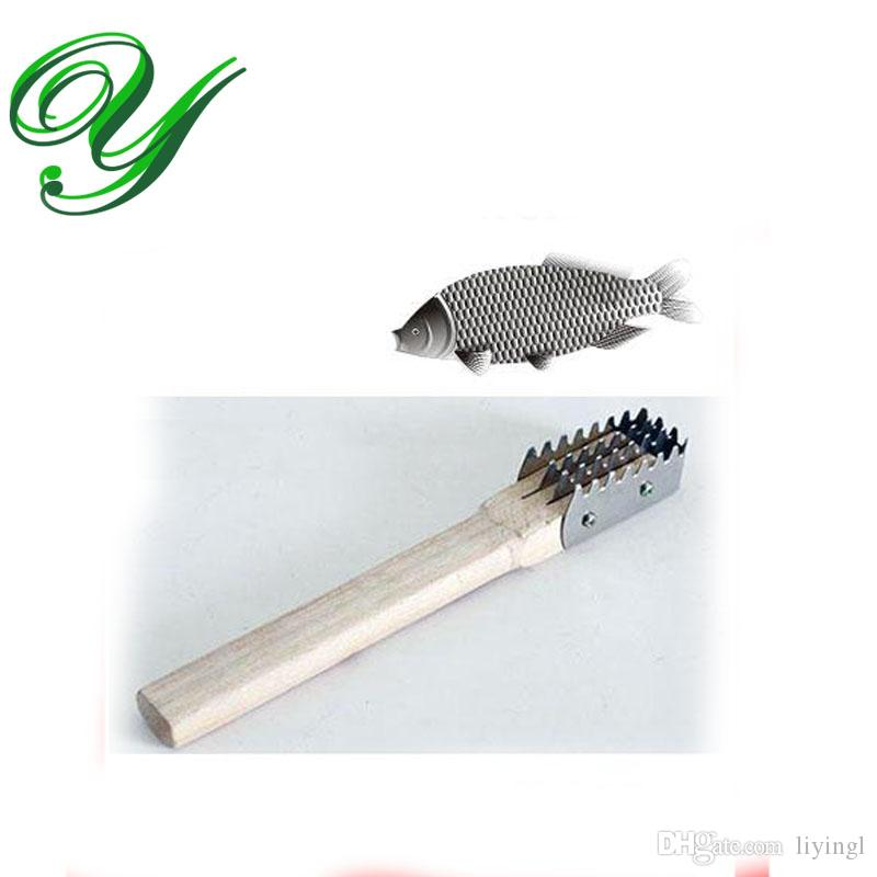 Fish scales scraper fast cleaning knife wood handle for Fish cleaning knife