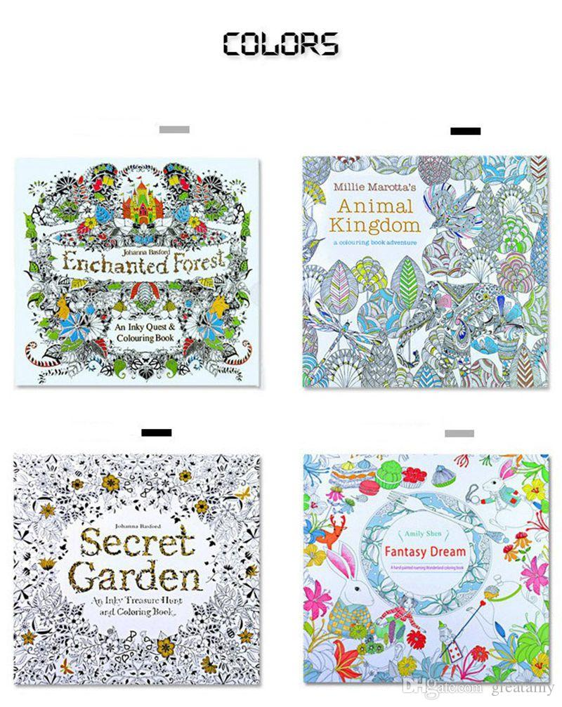 Newest Secret Garden Adult English Decompression Hand Painted Color In Coloring Book Enchanted Forest Children Books Education Toys