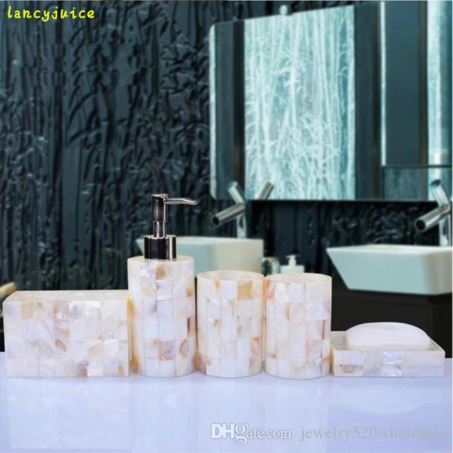 Elegant Pearl Shell Bathroom Accessory Set Matural Shell Bathroom Set Soap  Dish Dispenser 2 TumblersToothbrush Holder Pearl Shell Bathroom Accessory  Set ...