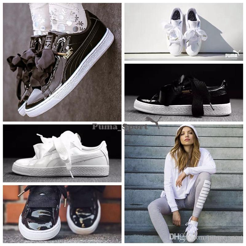 puma basket patent leather platform sneakers