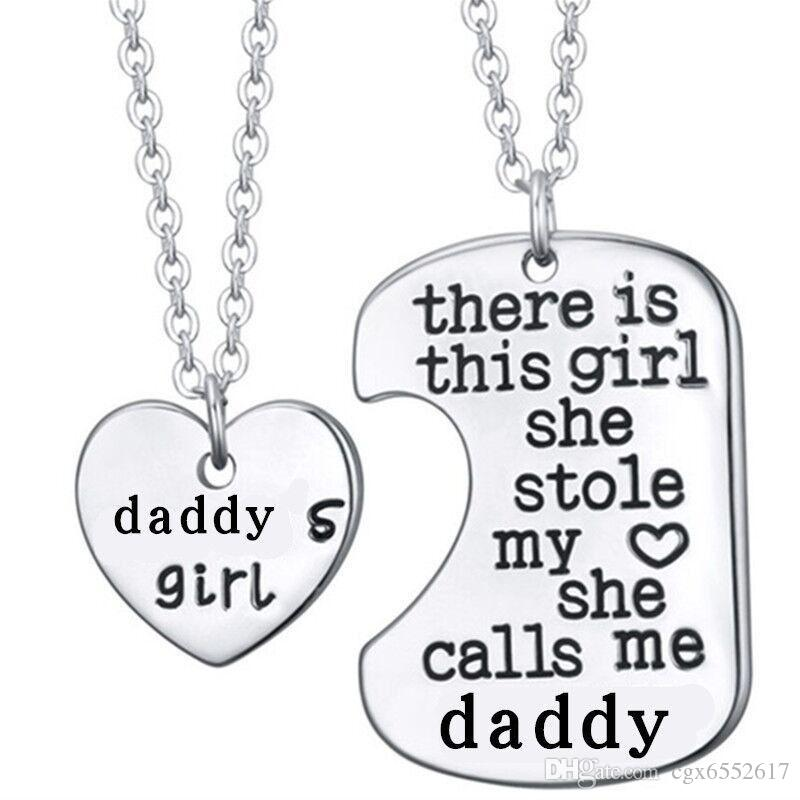 2Pcs Silver Letter Heart Tag Colliers Daddy Daughter Dad Father Chain Girl Gift