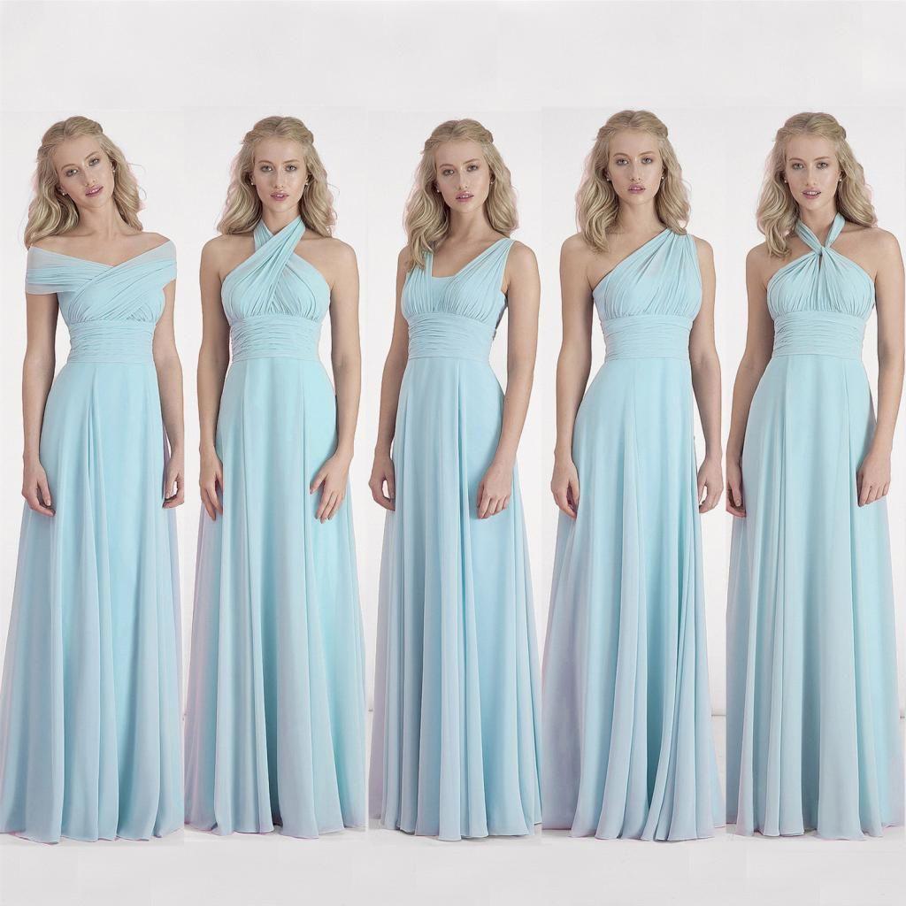 2017 new cheap convertible bridesmaid dresses sky blue for Sky blue wedding guest dresses