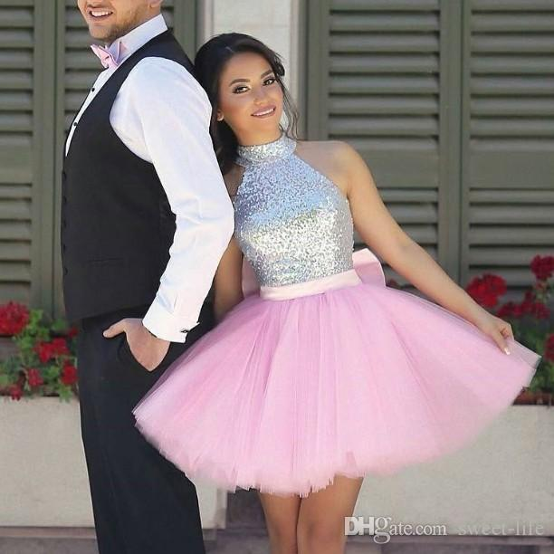 Sexy Short Pink Prom Dresses High Neck Sequins With Bow Mini 8th ...