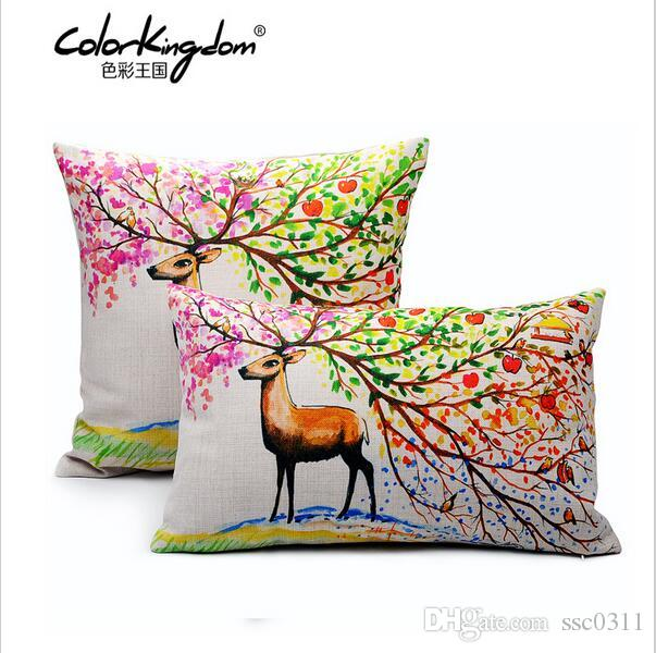 Customized Nordic Style Color Deer Pillow Cover 45CM 45CM 30CM