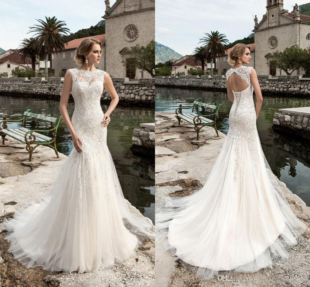 2017 Full Lace Mermaid Wedding Dresses Sheer Neck Cap